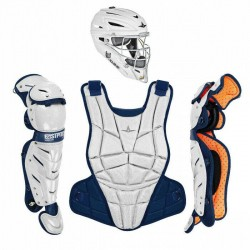 All Star AFX Intermediate 13-16 Fastpitch Softball Catchers Gear Set White Navy