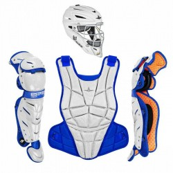 All Star AFX Youth 10-12 Fastpitch Softball Catchers Gear Set - White Royal