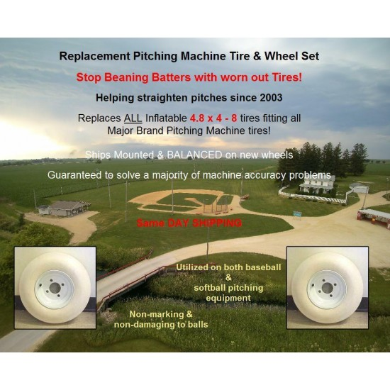 2) 4.8x4-8 pitching machine tire & wheel combo for 2 tire machines