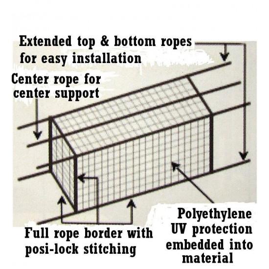 Batting Cage Net 12' x 12' x 55' #36 HDPE Heavy Duty Baseball Softball Netting