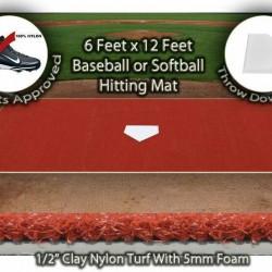 6 x12 Clay Synthetic Turf Grass Baseball Softball Hitting Batting Field Cage Mat