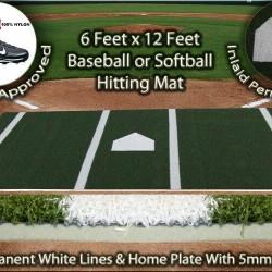 6 x 12 Green Synthetic Nylon Turf Baseball Softball Hitting Batting Practice Mat