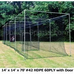 Batting Cage Net 14' x 14' x 70' #42 HDPE (60PLY) with Door Heavy Duty Baseball