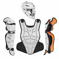 All Star AFX Youth 10-12 Fastpitch Softball Catchers Gear Set - White Black
