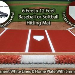 6 x 12 Clay Synthetic Nylon Turf Baseball Softball Hitting Batting Practice Mat