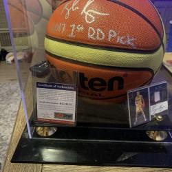 2017 1st RD Pick Kyle Kuzma Basketball Autographed With Autographed Noir Card