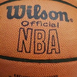 A RARE/VINTAGE WILSON OFFICIAL NBA LEATHER BASKETBALL LARRY O