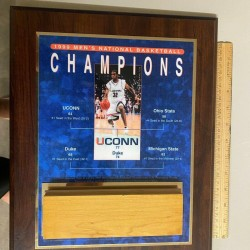1999 UCONN vs DUKE NCAA BASKETBALL CHAMPIONS PLAQUE with FLOOR BOARD & COA