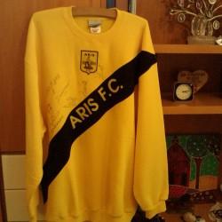 10 Year Best Win,ARIS THESSALONIKI FOOTBALL LONG-SLEEVE  RARE XXL,GREECE,Sig